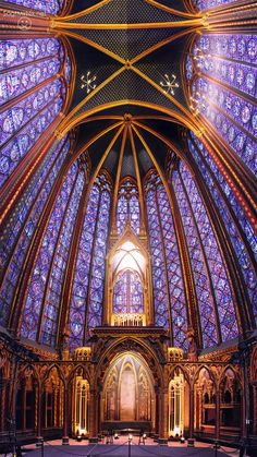 The Sainte Chapelle in Paris (the St. Chapelle cathedral in Paris). Especially for their windows, this church is known worldwide (this cathedral is world famous for its windows). Architecture Antique, Art Et Architecture, Cathedral Architecture, Religious Architecture, Beautiful Architecture, Beautiful Buildings, Beautiful Places, Beautiful Pictures, Stained Glass Church