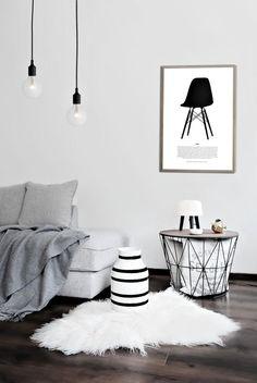 design interior alb covor blana naturala pendul corp iluminat