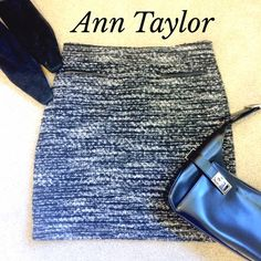 "❤️ANN TAYLOR BLACK/GRAY NUBBY SKIRT❤️ Chic black and gray nubby skirt by ANN TAYLOR. Size 4. Fully lined. Cute faux pockets (pictured). Outer material is 61% polyester 19% cotton 12% rayon 2% wool 6% other fibers, lining is 200% polyester. Hidden zipper in back with hook and eye closure. Skirt measures 18"" from top to bottom laying flat. Excellent condition. Ann Taylor Skirts"