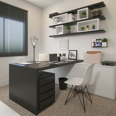 Small office with flooring and carpet and decoration on .- Escritório pequeno com revestimento e carpete e decoração sofisticada. Small office with flooring and carpet and sophisticated decoration. Office Cabin Design, Office Furniture Design, Home Office Setup, Loft Design, House Design, Home Office Table, Office Ideas, Best Office, Small Office