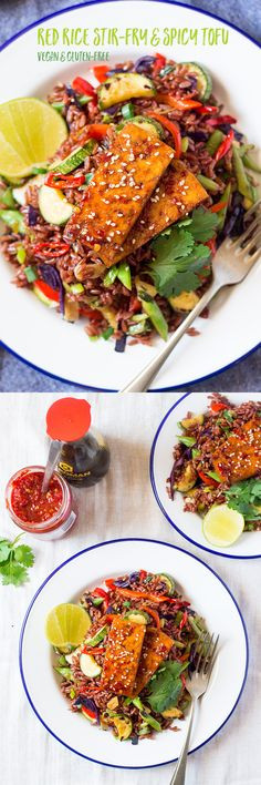 Red rice stir-fry with spicy tofu + an announcement