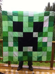 Minecraft Creeper Quilt This is the first thing I have pinnned. I am going to do Joshua's room in Minecraft in October we are hoping to send him away to my parents over the weekend and redo his room. Hoping my sis or my friend Marilyn will help me make this :D