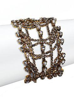 Erickson Beamon Bette Crystal Layered Multi-Row Bracelet on shopstyle.com Luxury Jewelry, Girly Girl, The Row, Swarovski Crystals, Layers, Bracelets, Womens Fashion, Gold, Jewelries