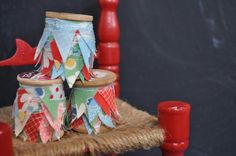 Mini bunting on vintage wooden spool by acottagelife on Etsy