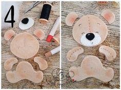 blend with pink fabric (Tutorial ) Felt Animal Patterns, Felt Crafts Patterns, Stuffed Animal Patterns, Teddy Bear Crafts, Diy And Crafts, Crafts For Kids, Diy Bebe, Felt Fabric, Pink Fabric