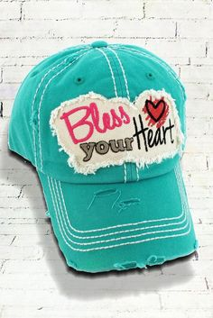 66fc4a677 Distressed 'Bless Your Heart' Cap Cowgirl Hats, Cowgirl Outfits, Chic  Outfits,