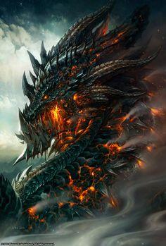 Fantasy illustrations by Wei Wang, Fantasy creatures, dragon Magical Creatures, Fantasy Creatures, Fantasy World, Dark Fantasy, Digital Art Illustration, Dragon Illustration, Dragon Medieval, Medieval Fantasy, Cool Dragons