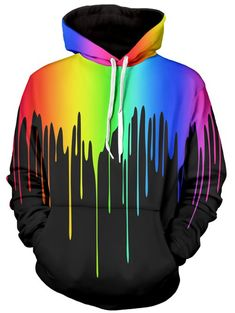 Multicolor Paint Dripping Long Sleeve Hoodie - BLACK 2XL Pulls 961c9f0b4ec