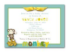 Go Bananas Monkey Baby Shower Invitations Neutral