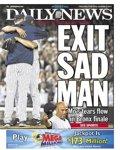 "Not sure ""EXIT SAD MAN"" was the best way for the Daily News to pay tribute to Mariano Rivera"