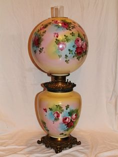 "Museum Quality ~ HUGE Gone with the Wind Oil Lamp ~RARE 13"" SHADE~Masterpiece Breathtaking BEAUTY WITH HAND PAINTED ROSES~ Outstanding Fancy Ornate Font Spill Ring and Base~ Original Condition ~Original Parts ~ Collector Piece ~ Master Artistry"