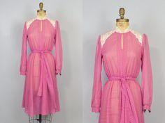 Pink Polka Dot Dress / 70s Dress / Pink Dress /
