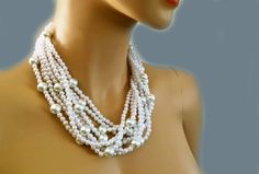 Chunky Pearl Necklace Wedding Bridal Necklace with different size by PearlJewelryNecklace, $102.00