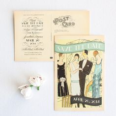 Gatsby Save-the-Date Postcard, coordinates with Gatsby Letterpress Invitation | Lucky Luxe Couture Correspondence | Letterpress Wedding Stationery