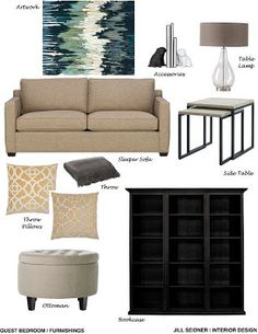 Simi Valley CA Residence Family Room Furnishings Concept Board Revised InteriorDesign