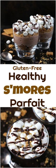 Healthy S'mores Parfait - This Healthy S'mores Parfait is gluten-free and full of filling protein! Enjoy it as a decadent breakfast or healthy dessert! Make this parfait dairy-free by using a dairy-free yogurt instead.