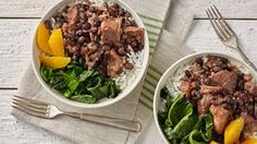 Brazilian Feijoada is the inspiration for this satisfying slow-cooker meal. Inexpensive cuts of beef and pork are combined with earthy black beans and cooked until perfectly tender. Sautéed greens, white rice and orange segments make this dish a memorable Slow Cooker Recipes, Crockpot Recipes, Cooking Recipes, Delicious Recipes, Pie Recipes, Dinner Recipes, Tater Tots, Tater Tot Casserole, Brunch Casserole