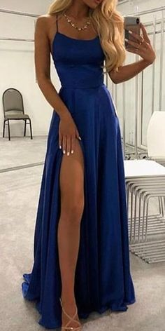 Spaghetti Straps Long Royal Blue Prom Dresses 2020 Fashion Long Side Slit Graduation Party Dress Custom Made Long School Dance Dresses Pagent Dresses Source by setaypu dresses Pagent Dresses, Royal Blue Prom Dresses, Cute Prom Dresses, Ball Dresses, Sexy Dresses, Elegant Dresses, Prom Dresses Silk, Long Satin Dress, Summer Dresses