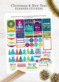 These FREE printable planner stickers for Christmas and New Years are so cute! These stickers fit the Happy Planner and similar sized planners. Great for Day Designer, Erin Condren, Bullet Journal, Emily Ley, and more. via @diy_candy