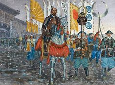 Tokugawa Ieyasu leads his army out of Hamamatsu Castle to the battlefield of Mikatagahara - art by Giuseppe Rava