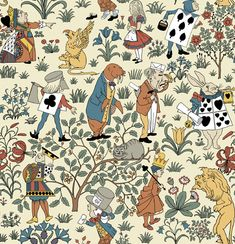 Alice in Wonderland Wallpaper by CFA Voysey c 1930. This pattern  speaks to the designer's view of a better world through the eyes of a child. The wallpaper is a compilation of Tenniel's original illustrations for Alice in Wonderland, and Through the Looking Glass colored and arranged by Voysey.