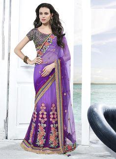Desirable Net Magenta Patch Border Work Classic Designer Saree