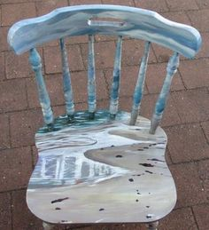 For a guest room desk chair - painted beach furniture Jacksonville beach Hand Painted Chairs, Hand Painted Furniture, Paint Furniture, Furniture Makeover, Painted Tables, Furniture Design, Decoupage Furniture, Chair Design, Beach Furniture
