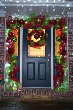 Christmas Door Decor Building On The Previous Year - southern fried gal Front Door Christmas Decorations, Christmas Front Doors, Christmas Porch, Outdoor Christmas, Winter Christmas, Christmas Lights, Christmas Time, Christmas Wreaths, Outdoor Decorations