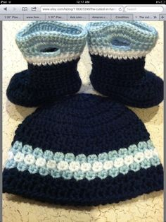 Lovely baby boy crochet hat and booties