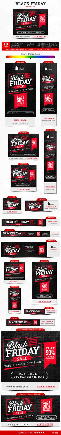 Black Friday Web Banners Template PSD #design Download…