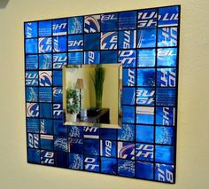Use your old Bud Light cartons as mirror decor. Who knew? #beerdiy #homedecor