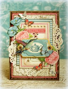 Romantic card made with the gorgeous Botanical Tea collection from Graphic 45