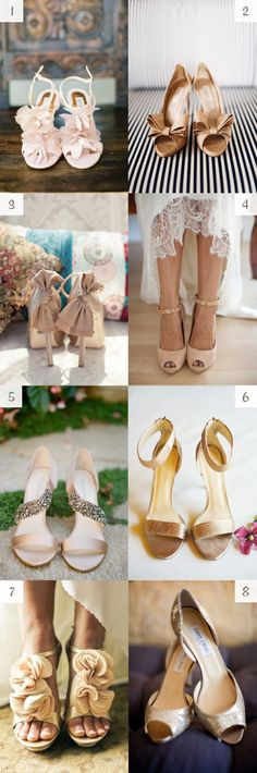nude wedding shoes -  #glitter #heels #gold