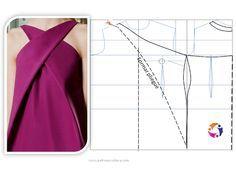 Patrón y costura nos muestra cómo realizar este bonito modelo. Cómo siempre lo primero es realizar la toma de medidas y el patrón base., Vestido cruzado (PATRÓN Y COSTURA), # ✂❤ Dress Sewing Patterns, Blouse Patterns, Clothing Patterns, Loom Patterns, Techniques Couture, Sewing Techniques, Sewing Clothes, Diy Clothes, Bonnet Crochet