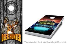 Deer Hunter vs Bass Master 1 Cornhole Wrap by StickitGraphixllc