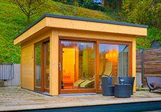 Modernes Saunahaus Balneum https://www.hummel-blockhaus.de/produkte/typen-haeuser/saunahaeuser/