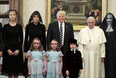 """Las redes se llenaron de memes con la reunión del Papa Francisco con Donald Trump. Tras la reunión que mantuvo el Sumo Pontífice con el presidente de Estados Unidos y su familia, Internet """"deliró"""" con la cara de Francisco. 25 de mayo de 2017"""