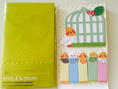 Bird Sticky Note Pad and Flags by GoatGirlMH on Etsy