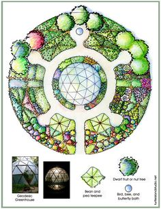 Turtle Mandala Garden Plan with Geodesic Greenhouse Eco Garden, Edible Garden, Garden Beds, Geodesic Dome Greenhouse, Greenhouse Plans, Mandala Design, Farm Gardens, Garden Planning, Amazing Gardens
