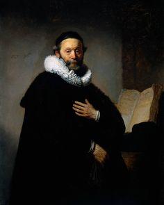 "Rembrandt (1606-1669)  Portrait of Johannes Wtenbogaert (1557;1644), Remonstrant Minister  Oil on canvas  1633  103 x 130 cm  (3' 4.55"" x 4' 3.18"")  Rijksmuseum (Amsterdam, Netherlands)"