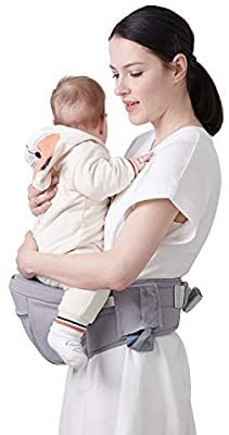 SUNVENO Baby Hipseat Carrier, Ergonomic Reduce Waist Hip Seat for Mom, Lightweight Certified Fabrics Soft Carrier for Newborns, Toddlers, Children, 6-48 lbs, Grey : Baby