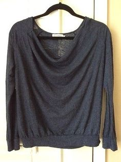VELVET by Graham & Spencer Long Sleeve Casual Knit Sweater Top Blue Small