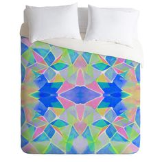 Amy Sia Chroma Blue Duvet Cover #neon #geometric #pattern #home #decor #bedding…