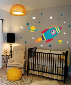 Rocket Wall Decal Boys Name Outer Space Kids Room, Custom nursery vinyl wall decals stickers, Kids&teens room, Removable decals stickers