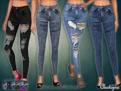 The Sims Resource: Set30 - High Waist Acid Wash Jeans Set by Cleotopia • Sims 4 Downloads