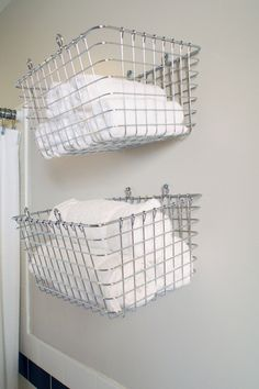 Creative Storage Solutions for Around the House. This might even be a better idea than I was previously thinking. Office Organization, Bathroom Organization, Bathroom Storage, I Heart Organizing, Towel Storage, Storage Solutions, Storage Ideas, Easy Storage, Creative Storage