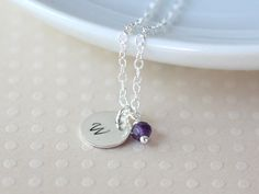 Initial and Birthstone Necklace  Hand Stamped by SilverRhapsody, $26.00