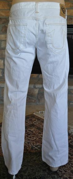 2afbe9f4 NEW Mens True Religion Bobby Phoenix Straight Jeans - Optic White size 31  $218 Single Wall