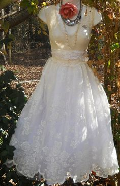 Cream lace  dress tulle  baby doll  fairytale  by vintageopulence, $140.00