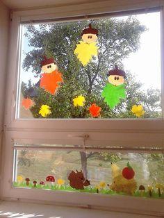 Autumn Crafts, Halloween Crafts For Kids, Autumn Art, Autumn Theme, Fall Window Decorations, Fall Classroom Decorations, Fall Decor, Board Decoration, Baby Crafts